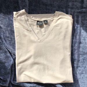 HUGO BOSS Gray Slim Fit, Light Cotton V Neck Tee